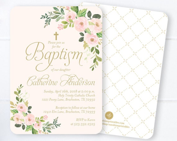 baby girl baptism invitations blush gold watercolor floral etsy