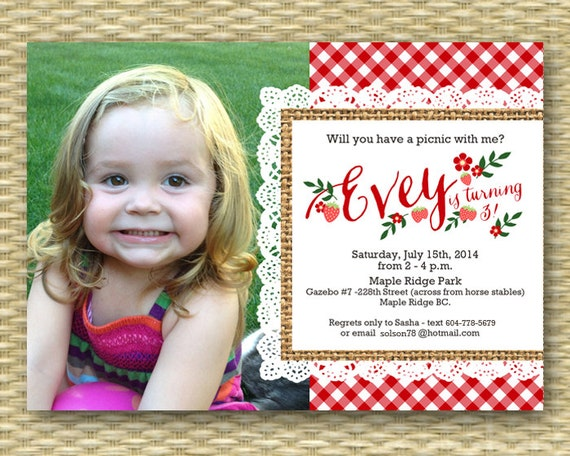 Awesome 1St Birthday Invitation Birthday Picnic Party Summer Picnic First Funny Birthday Cards Online Inifofree Goldxyz