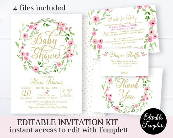picture relating to Printable Invitations Kit identify Spring Floral Little one Shower Invitation Package Lady Little one Shower
