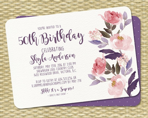 Watercolor Floral Birthday Invitation 50th Rustic