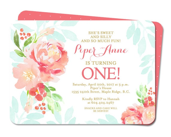 floral first birthday girl invitation kids 1st birthday invite