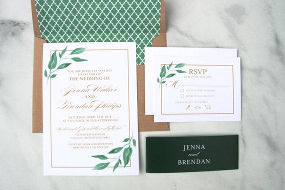 Greenery Wedding Invitations Greenery Leaves Gold Printed