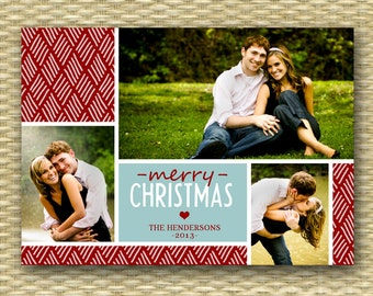Christmas Photo Card - Customized, DIY Printable, Holiday - 3 Photo Collage - ANY COLOR