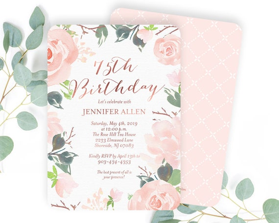 Your choice of Quantity Age 1st Birthday Invitations Girl Floral Floral Birthday Invitations for Girls Info and Envelope Color