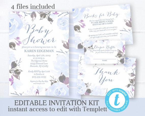 image regarding Printable Invitations Kit named Boy or girl Boy Shower Invitation Package Blue Floral Boy or girl Shower