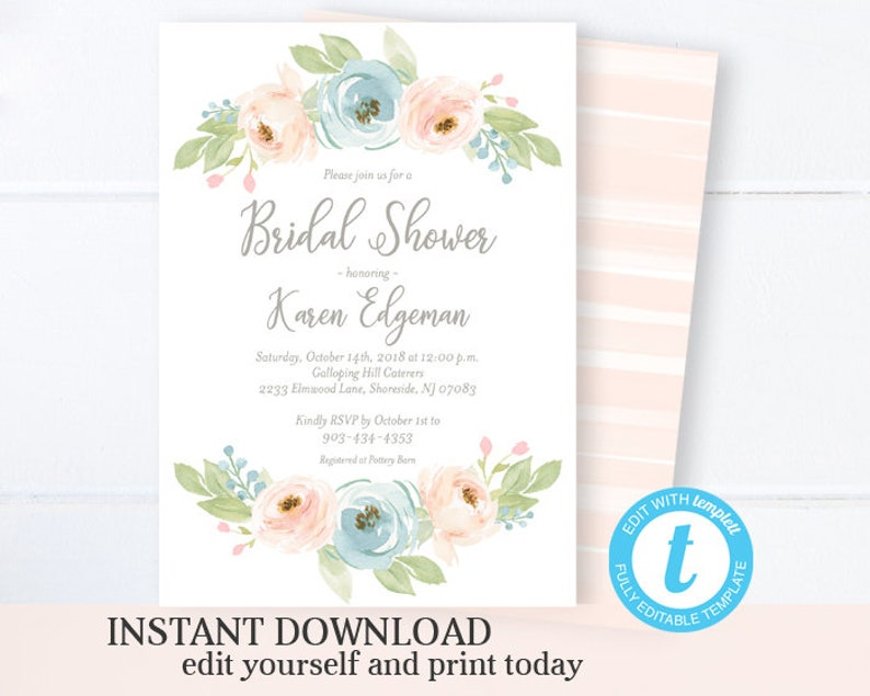 33aeabfc8cdf Watercolor Floral Bridal Shower Invitation Pastel Flowers
