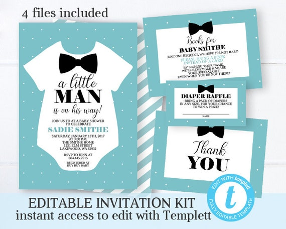 image about Printable Invitation Kit named Little one Boy Shower Invitation Package Very little Guy Boy or girl Shower