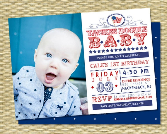 July 4th First Birthday Invitation Red White And Blue Yankee