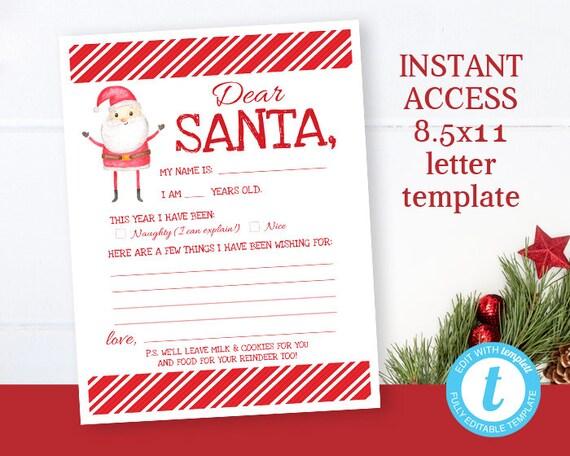 Printable Santa Letter Letter To Santa Christmas Wish List