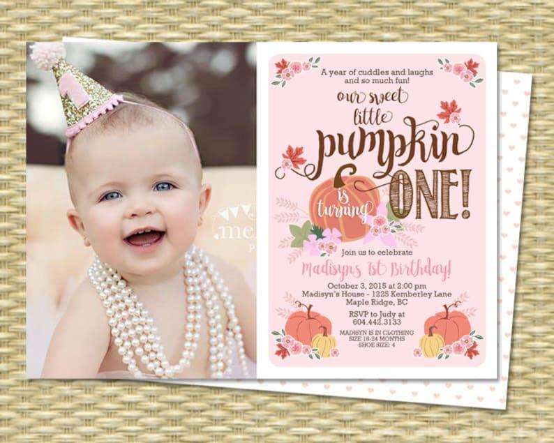 Our Little Pumpkin Birthday Invitation First