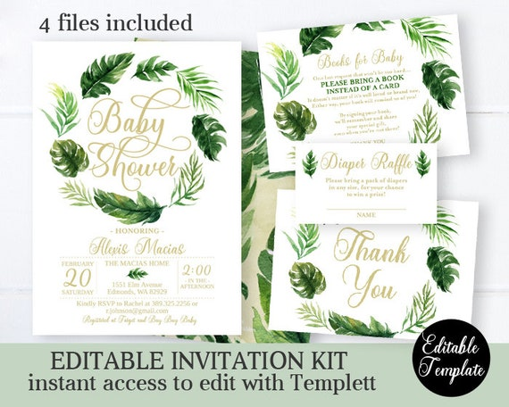 Gender Neutral Tropical Baby Shower Raffle Game Green /& White Tropical Safari Leaf Baby Shower Diaper Raffle Tickets Safari Leaf Baby Shower Supplies Set of 50