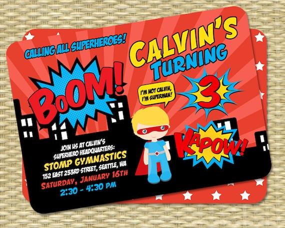 Superhero Birthday Invitation Kids Birthday Invite 1st Birthday 3rd