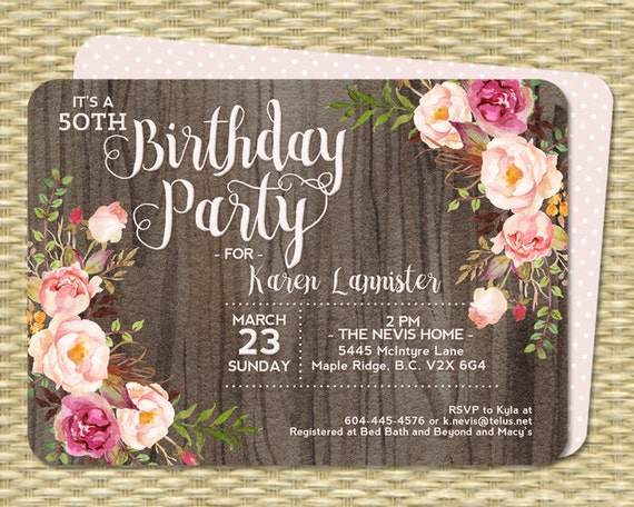 50th Birthday Invitation Rustic Watercolor Floral