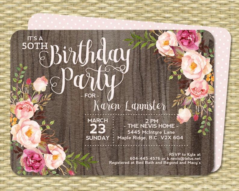 50th Birthday Invitation Rustic Watercolor Floral