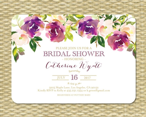 ff5d4641b7a6 Printable Bridal Shower Invitation Wedding Shower Invite Watercolor Floral  Burgundy Gold Purple Floral Bridal Tea Garden Party ANY EVENT