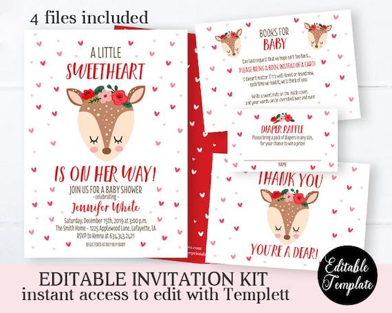 Little Sweetheart Baby Shower Invitation KIT Girl Baby Shower Invite Kit Printable Invitation Editable Template Valentine Baby Shower Deer