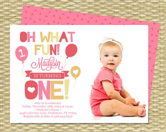 First Birthday Invitation Oh What Fun Turning One