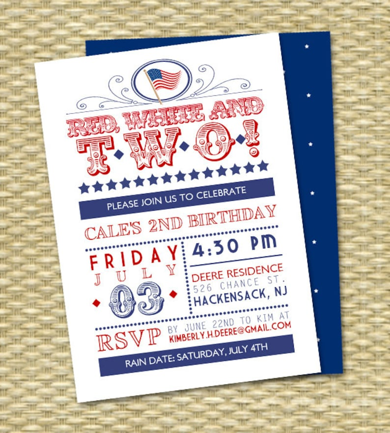 Red White And Two Birthday Invitation July 4th