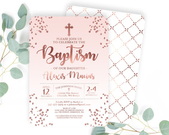 rose gold baby girl christening invitation pink girl baptism etsy
