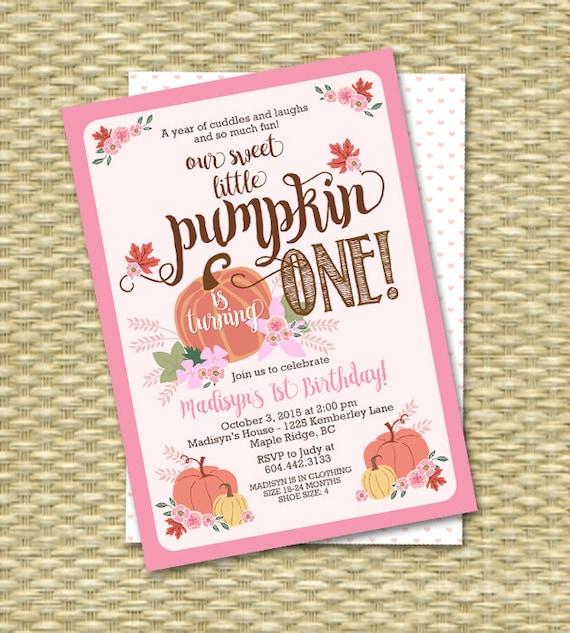 Fall First Birthday Invitation Little Pumpkin
