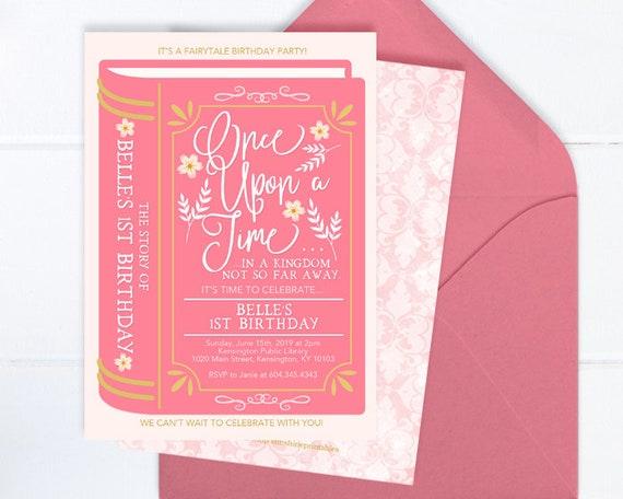 Princess Birthday Invitation Once Upon A Time Birthday Etsy
