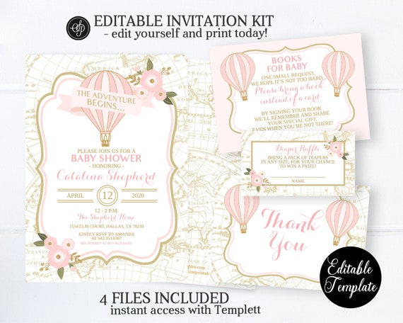 PROFESSIONALLY PRINTED also available in digital format It/'s a girl baby shower invite Pastel baby shower hot air Baby Shower invitation