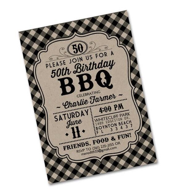 Rustic BBQ Birthday Invitation Adult Invite Milestone