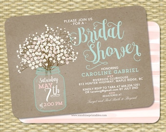 Rustic Bridal Shower Invitation, Kraft Mason Jar and Baby's Breath, Babies Breath, Bridal Brunch Invite, ANY EVENT, Any Colors