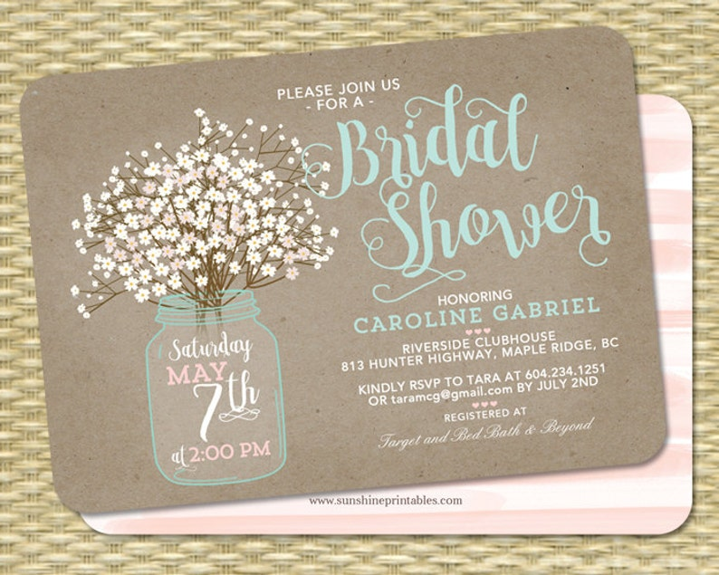 Rustic Bridal Shower Invitation Kraft Mason Jar And Babys Etsy
