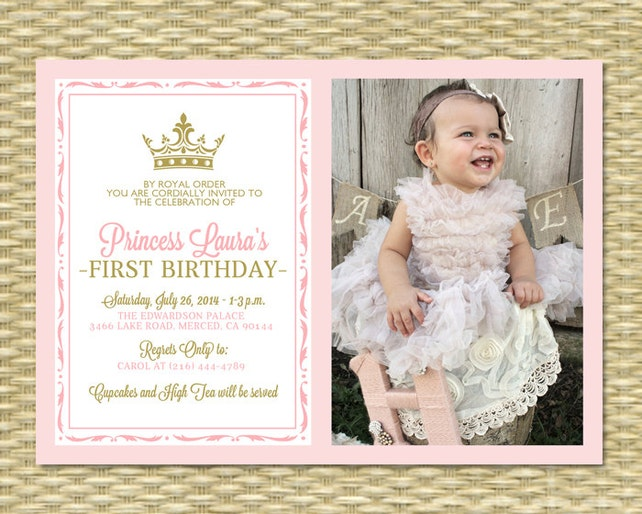 Pink And Gold Princess First Birthday Invitation Photo Card Royal Baby Girl Shower Printable Any Event