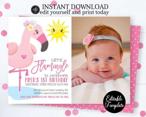picture regarding Printable Flamingo Template titled EDITABLE Allows Flamingle Birthday Invitation Template