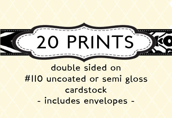 20 prints professionally printed cards envelopes invitation