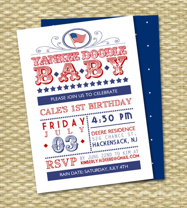 4th Of July First Birthday Invitation Yankee Doodle Baby