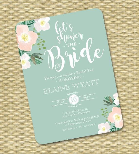 25c2d8024781 Floral Bridal Shower Invitation Printed or Printable Blush