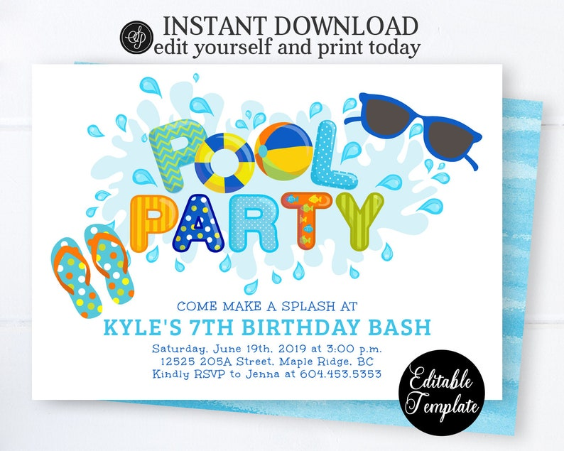 Pool Party Invitation Boy Swimming Birthday