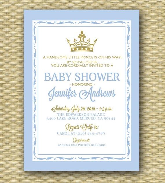 Printable Royal Baby Shower Invitation Royal Baby Boy Shower Little