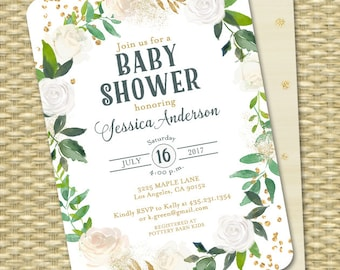 White and Gold Baby Shower Invitation Gold Glitter White Roses Greenery Floral Baby Shower Gender Neutral Baby Sprinkle  ANY EVENT
