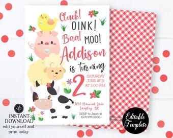 Farm Invitation, Farm Birthday Invitation, Printable Invitation, Farm Animals, Birthday Invitation, Barnyard Bash, EDITABLE TEMPLATE, SP0050