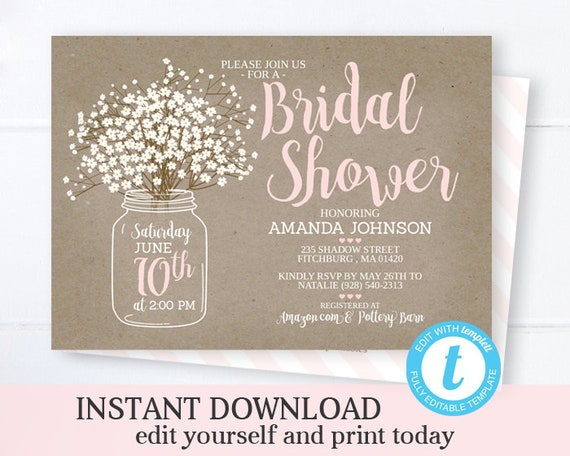 graphic about Printable Bridal Shower Invites named Mason Jar Bridal Shower Invitation Template Fast Obtain