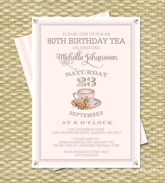 80th Birthday Invitation Tea Party Invite Adult Milestone Vintage Teacup Blush Pink Gold