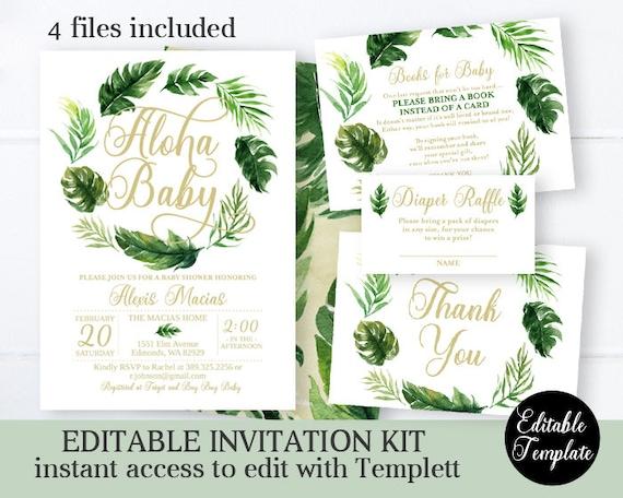Hawaiian PRINTABLE BSU054 digital Tropical Baby Shower Invitation Set Aloha Invitation, thank you card, book request, diaper raffle