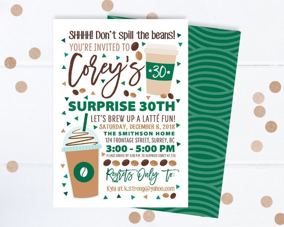 Coffee Lover Birthday Invitation Shop Surprise 30th Invite Theme Printable Or Printed Invitations