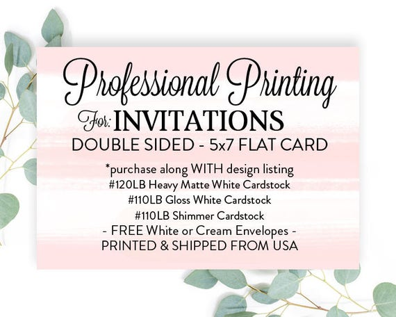 printed invitations 5x7 with envelopes printed 5x7 invites etsy
