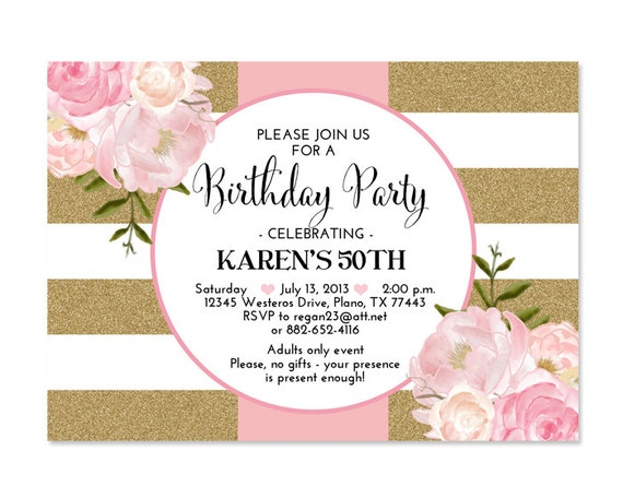 30th Birthday Invitation Pink Gold Glitter Stripes Peonies Floral 21st 40th 50th 60th 70th Any Age Or Event