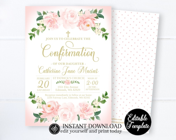 Purple and Gold Confirmation Invitation Confirmation Invitation Girl Instant Download Printable Editable