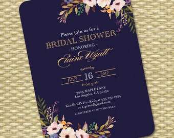 White floral bridal shower invitation white flower bridal bridal shower invitation wedding shower invite navy blue gold black gold watercolor floral filmwisefo