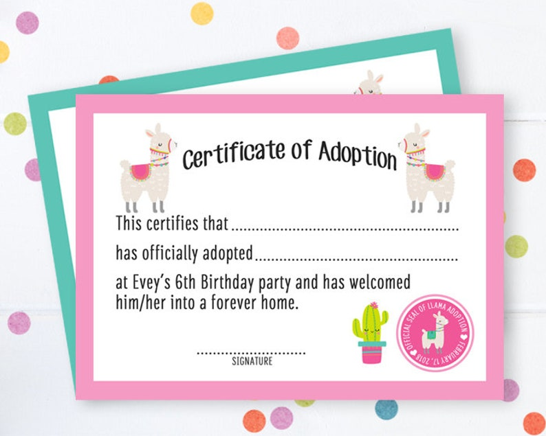 photo about Printable Adoption Certificate referred to as Llama Adoption Certification Undertake a Llama Occasion Llama Birthday Social gathering Undertake a Llama Birthday Printable Adoption Certification Doggy Adoption Social gathering