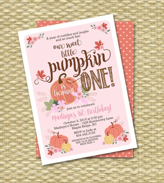 Little Pumpkin Birthday Invitation First