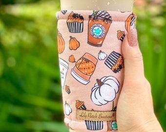 Lily Patch Pumpkin Spice Coffee Cozy, Iced Coffee Cozy, Cup Cozy, Drink Sleeve, Can Cozy, Soda S