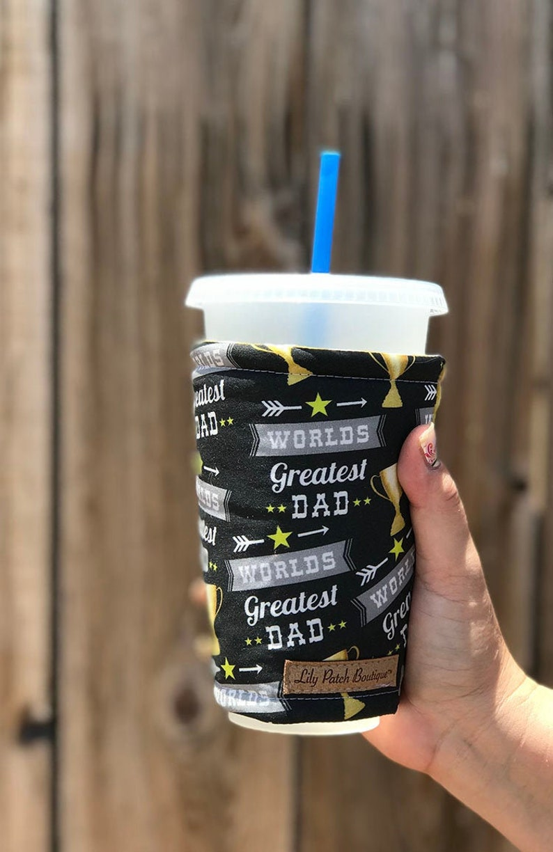 World's Greatest Dad Coffee Cozy Iced Coffee Cozy Cup image 0